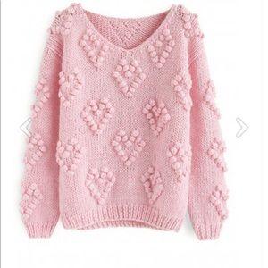 Pink Pom Hearts V-Neck Sweater